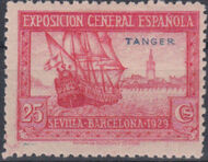 Tangier-Spain 1929 Seville-Barcelona Issue of Spain Overprinted in Blue or Red e