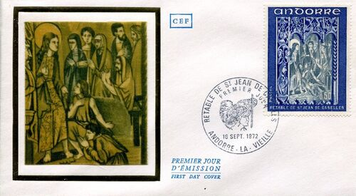 Andorra-French 1972 Altarpiece of Saint Jean de Caselles FDCb