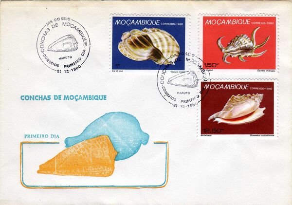 Mozambique 1980 Stamp Day - Maritime Shells of Mozambique FDCa