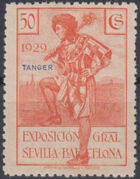 Tangier-Spain 1929 Seville-Barcelona Issue of Spain Overprinted in Blue or Red h