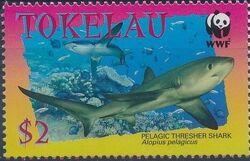 Tokelau 2002 WWF Pelagic Thresher Shark c