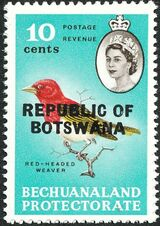 Botswana 1966 Overprint REPUBLIC OF BOTSWANA on Bechuanaland 1961 g