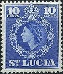 St Lucia 1953 Queen Elizabeth II and Arms of St Lucia h