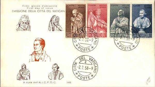 Vatican City 1958 Bicentenary of the Birth of Antonio Canova FDCa