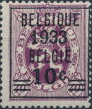 Belgium 1933 Coat of Arms, Precanceled and Surcharged a