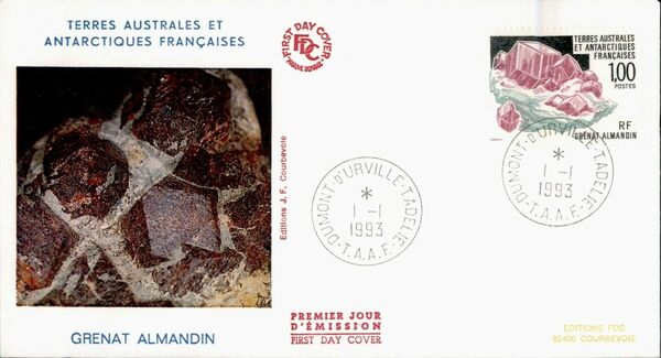 French Southern and Antarctic Territories 1993 Minerals - Almandine Garnet FCa