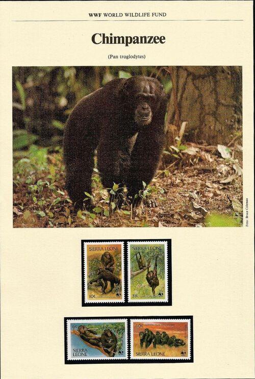 Sierra Leone 1983 WWF - Chimpanzees from Outamba-Kilimi National Park WWF-IOP