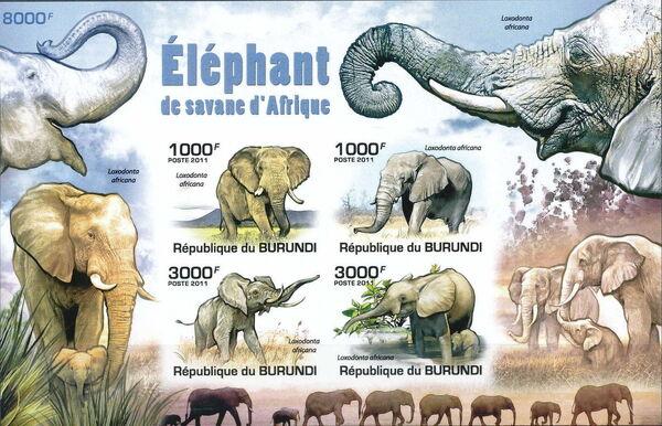 Burundi 2011 Elephants of the African Savanna MSb