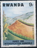 Rwanda 1986 Soil Erosion Prevention (Surcharged and Overprinted) a