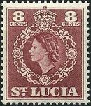 St Lucia 1953 Queen Elizabeth II and Arms of St Lucia g