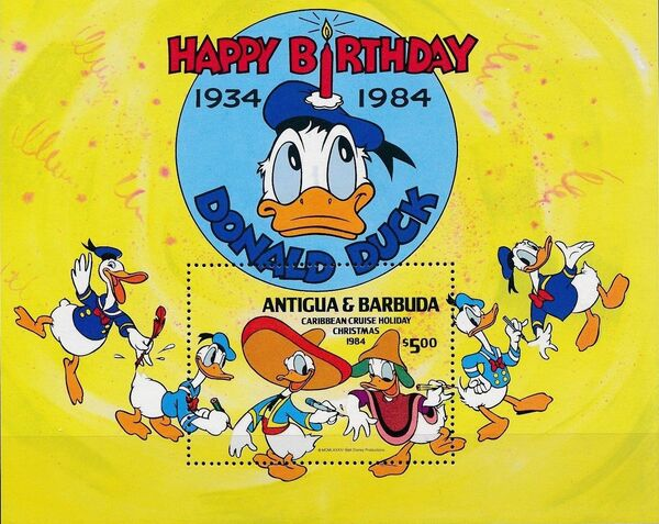 Antigua and Barbuda 1984 Disney - Christmas - 50th Anniversary of the Birth of Donald Duck l