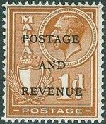 Malta 1928 George V and Coat of Arms Ovpt POSTAGE AND REVENUE d