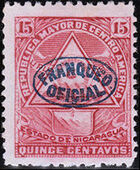 Nicaragua 1898 Official Stamps Overprinted in Blue f