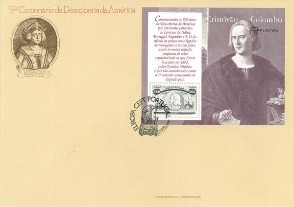 Portugal 1992 EUROPA - 5th Centenary of Discovery of America FDCg