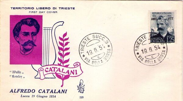 Trieste-Zone A 1954 Birth Centenary of Alfredo Catalani FDCb