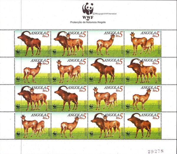 Angola 1990 WWF - Giant Sable Antelope Sheet
