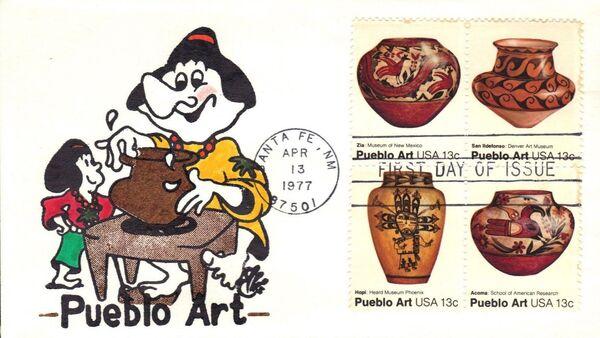 United States of America 1977 American Folk Art Series - Pueblo Pottery FDCa