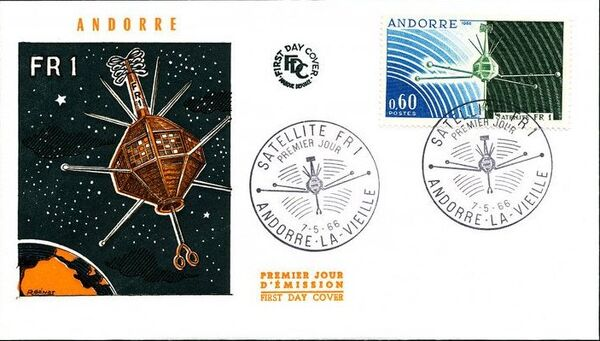 Andorra-French 1966 Launch of the French Satellite FR 1 FDCb