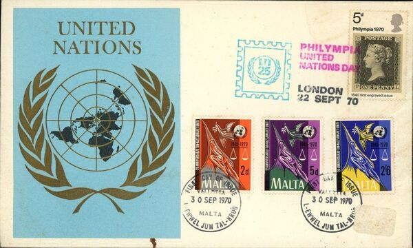 Malta 1970 25th Anniversary of the United Nations FDCd