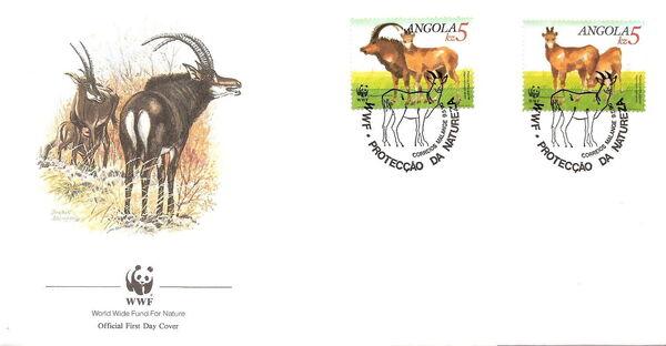 Angola 1990 WWF - Giant Sable Antelope FDCf