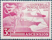 Ascension 1949 75th Anniversary of Universal Postal Union UPU a