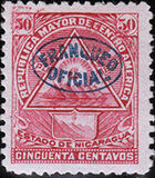 Nicaragua 1898 Official Stamps Overprinted in Blue h