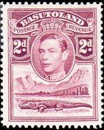 Basutoland 1938 George VI, Crocodile and River Scene d