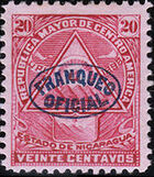 Nicaragua 1898 Official Stamps Overprinted in Blue g