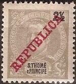 St Thomas and Prince 1911 D. Carlos I Overprinted a