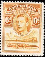 Basutoland 1938 George VI, Crocodile and River Scene g