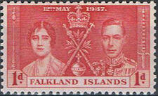Falkland Islands 1937 George VI Coronation b