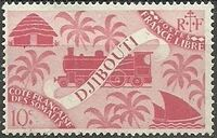 French Somali Coast 1943 Locomotive and Palms b