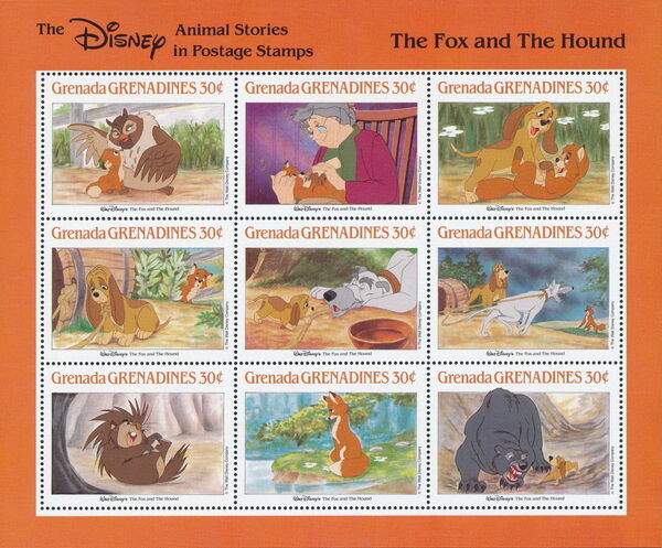 Grenada Grenadines 1988 The Disney Animal Stories in Postage Stamps SSb