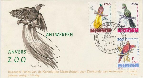 Belgium 1962 Birds of Antwerp Zoo FDCb