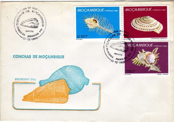 Mozambique 1980 Stamp Day - Maritime Shells of Mozambique FDCb