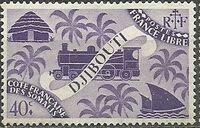 French Somali Coast 1943 Locomotive and Palms e