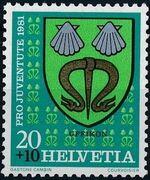 Switzerland 1981 PRO JUVENTUTE - Municipal Coat of Arms a