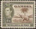 Gambia 1938 King George VI and Elephant (1st Group) i.jpg