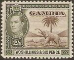 Gambia 1938 King George VI and Elephant (1st Group) i
