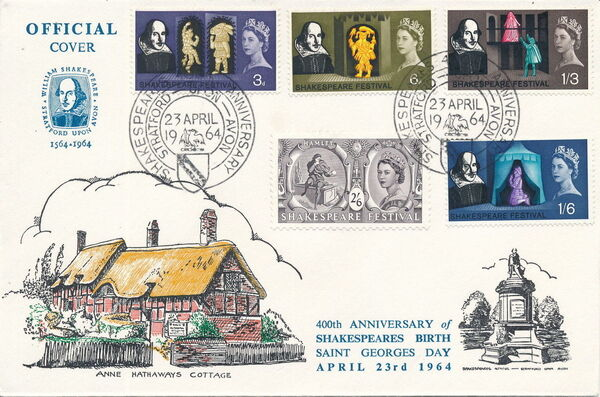 Great Britain 1964 400th Anniversary of the Birth of William Shakespeare FDCd