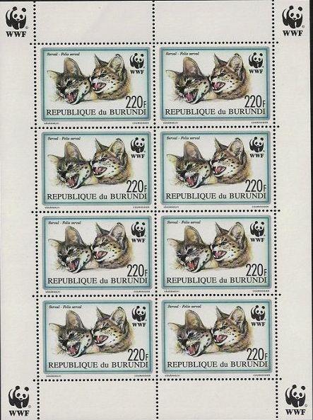 Burundi 1992 WWF Leptailurus serval Sd
