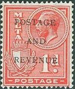 Malta 1928 George V and Coat of Arms Ovpt POSTAGE AND REVENUE c