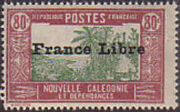 "New Caledonia 1941 Definitives of 1928 Overprinted in black ""France Libre"" t"