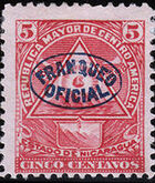 Nicaragua 1898 Official Stamps Overprinted in Blue d