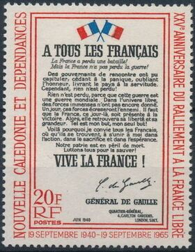 New Caledonia 1965 25th Anniversary of the rallying of the Free French a