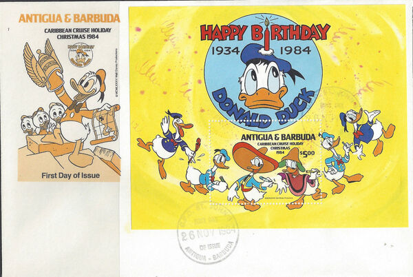 Antigua and Barbuda 1984 Disney - Christmas - 50th Anniversary of the Birth of Donald Duck p