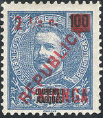 Kionga 1916 D Carlos I from Lourenço Marques with Overprint and Surcharged c