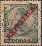 Azores 1911 D. Manuel II Overprinted REPUBLICA k
