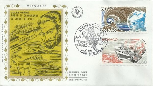 Monaco 1978 Birth Sesquicentennial of Jules Verne FDCb