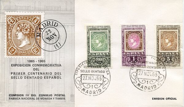 Spain 1965 Centenary of the 1st Spanish Perforated Postage Stamps FDCb